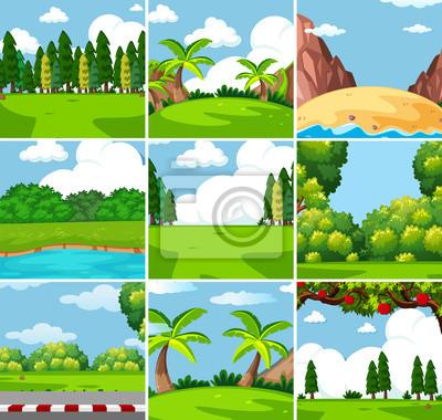 Fototapeta Nine different outdoor nature scenes