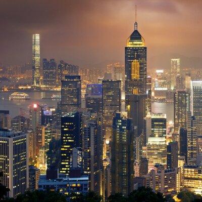 Hong Kong nocny widok