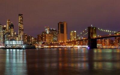 Fototapeta Nowego Jorku manhattan budynków skyline noc wieczorem