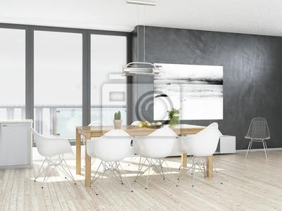 Fototapeta Nowoczesna Biała Kuchnia Wnętrze Z Drewnianą Podłogą