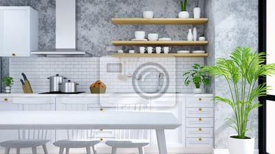 Nowoczesna I Loftowa Kuchnia Spiżarnia Jadalnia Białe Nowoczesne