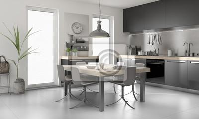 Fototapeta Nowoczesna Kuchnia Salon Kuchnia Wyposażona Kuchnia