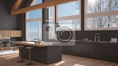 Fototapeta Nowoczesna Kuchnia W Klasycznej Willi Na Poddaszu Duże Panoramiczne