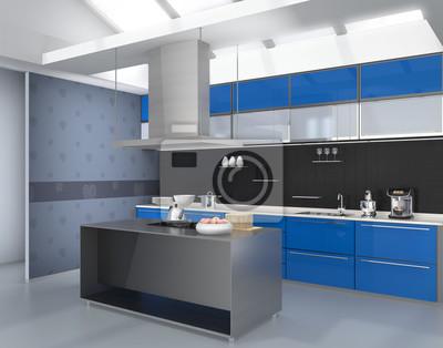 Fototapeta Nowoczesna Kuchnia Wnętrza Z Inteligentnych Urządzeń W Niebieskim