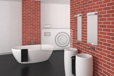 Fototapeta Nowoczesna łazienka Z Ceglaną ścianą I Ciemną Podłogą