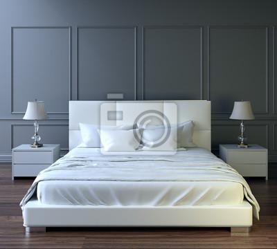 Fototapeta Nowoczesna Sypialnia Aranżacja Wnętrza Białe łóżko Szare ściany