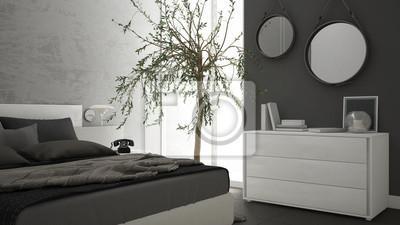 Fototapeta Nowoczesna Sypialnia Z Oknem Komoda I Duże Drzewo Oliwne Betonowa