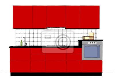 Fototapeta Nowoczesne Czerwone Szkło Wnętrza Kuchni Z Splashback Płytek