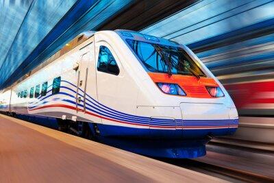 Fototapeta Nowoczesne dużych prędkości pociągu z ruchu Rozmycie