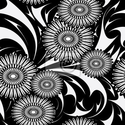 9050d48177abbf Fototapeta Nowoczesne kwiaty wektor wzór. Czarno-białe tło kwiatowy tapeta  z streszczenie kwiaty,