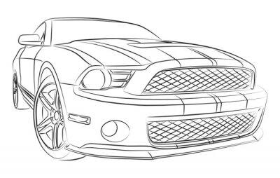 Fototapeta Nowoczesne rysunek muscle car