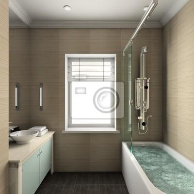 Nowoczesne Wnętrza łazienek 3d Render Fototapeta Fototapety Bidet