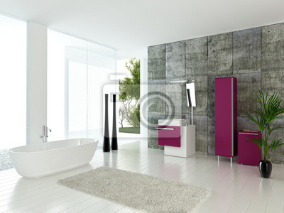 Fototapeta Nowoczesne Wnętrza łazienki Z Betonowej ściany I Różowe Meble