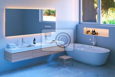 Fototapeta Nowoczesne Wnętrza łazienki Z Marmurową Podłogą 3d Render