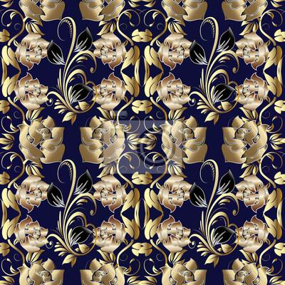 Fototapeta Nowoczesne Złote Róże Szwu Floral Tle Tapety Z Rocznika Dekoracyjne