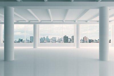 Fototapeta Nowoczesny biały obszar hangar z widokiem na miasto
