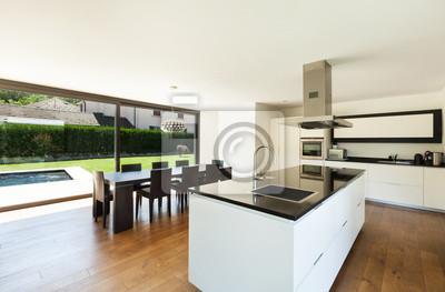 Nowoczesny Dom Wnętrze Piękna Kuchnia I Stół Fototapeta
