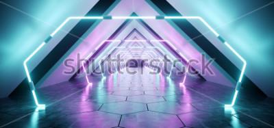Fototapeta Nowoczesny futurystyczny tunel Alien Odblaskowy korytarz Korytarz Pusty pokój z fioletowym i niebieskim Neon Glowing Lights tło Hexagon Floor Ilustracja renderowania 3D