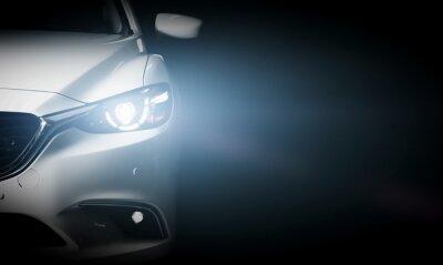 Fototapeta Nowoczesny luksusowy samochód z bliska banner tła