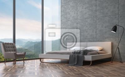 Fototapeta Nowoczesny Styl Loft Sypialnia Z Widokiem Na Góry 3d Renderowania