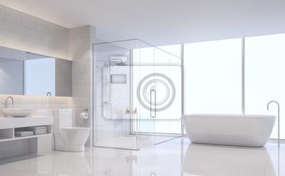 Fototapeta Nowożytny Biały łazienki 3d Renderingu Wizerunek Są Białe Płytki