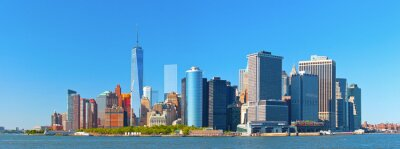 Fototapeta Nowy Jork budynków w dzielnicy ulicy dolnym Manhattanie panoramę na ścianie finansowe piękny letni dzień z nieba