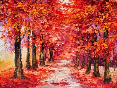 Obraz Olejny Kolorowe Jesienne Drzewa Impresjonizm Sztuki