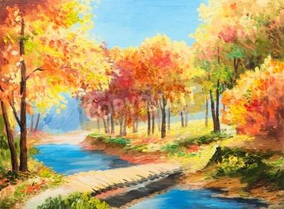 Fototapeta Obraz olejny krajobraz - kolorowe jesienią las, piękna rzeka