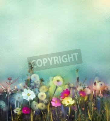 Fototapeta Obraz olejny kwiaty mniszka lekarskiego, mak, stokrotka na polach. Ręcznie Polne malarskie polu latem łąki. Wiosna kwiatów sezonowości z niebiesko - zielony w miękkim kolorowym tle.