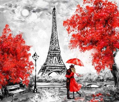 Fototapeta Obraz olejny, Paryż. Europejski krajobraz miasta. Francja, Tapeta, wieża eiffla. Czarne, białe i czerwone, sztuka współczesna. Para pod parasolem na ulicy