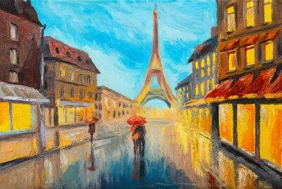 Fototapeta obraz olejny z wieży Eiffla, Francja