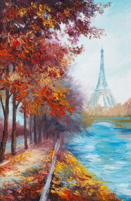 Fototapeta Obraz olejny z Wieży Eiffla, Francja, krajobraz jesienią