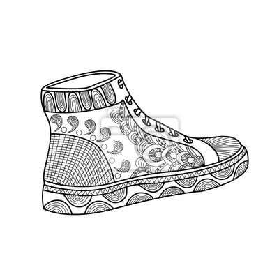 7815196b572b7 Fototapeta Obuwie damskie z pięknym wzorem. Buty sportowe. Trampki. Ręce  szkic doodle elementów