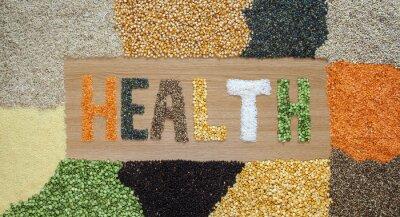 Fototapeta Ochronę zdrowia i żywności - ziarna, nasiona, rośliny strączkowe, ryż - organicznych.