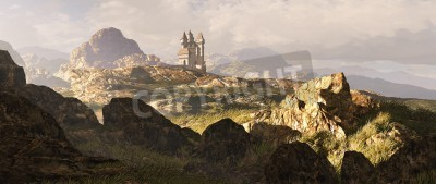 Fototapeta Odległość średniowiecznego zamku wśród szkockich gór Highlands.