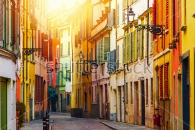 Fototapeta Old colorful street in Parma, Emilia-Romagna, Italy