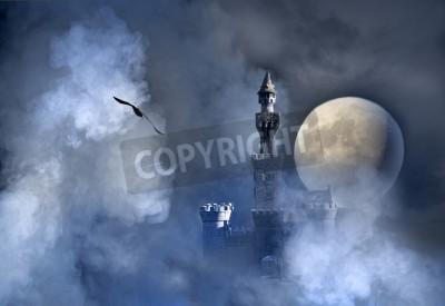 Fototapeta Old fantasy castle in the clouds