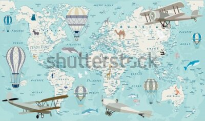 Fototapeta Old geography travel map with regional animals and aircrafts. Vector.