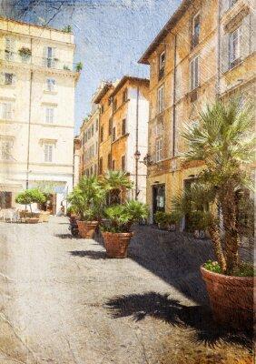 Fototapeta Old Street w Rzymie. Włochy. Obraz w artystycznym stylu retro.