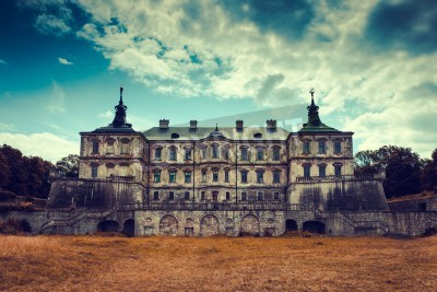 Fototapeta Old stylized Pidhirtsi Castle, village Podgortsy, Renaissance Palace, front view, Lviv region, Ukraine