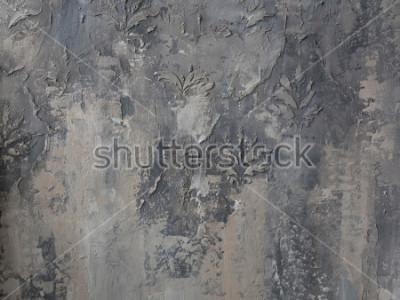 Fototapeta ornament na szarej ścianie betonowej
