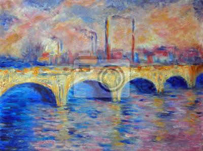 Oryginalny Obraz Olejny Na Płótnie London Bridge W Stylu