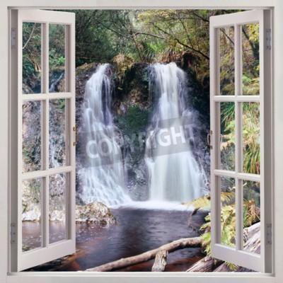 Fototapeta Otwórz okno widok na Hogarth Falls - o przyjemny wodospad położony w ludziach s Park w osobliwy nadbrzeżnego miasteczka Strahan, Tasmania, Australia
