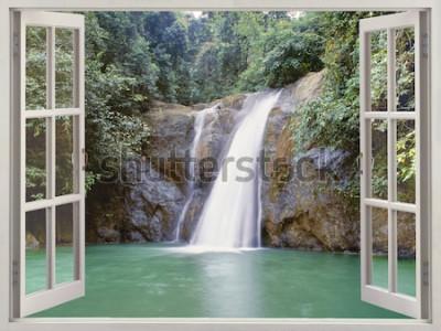 Fototapeta Otwórz okno widok na tropikalny wodospad w pobliżu miasta wodospadów, Iligan, Mindanao, Filipiny