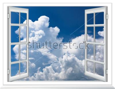 Fototapeta Otwórz okno widok nieba z wschodem słońca chmury