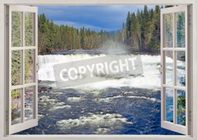 Fototapeta Otwórz okno widoku do Dawson Falls, Murtle River, Wells Gray Provincial Park, British Columbia, Kanada