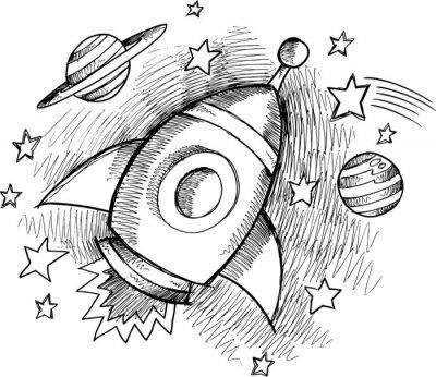 Fototapeta Outer Space Rocket ładny szkic
