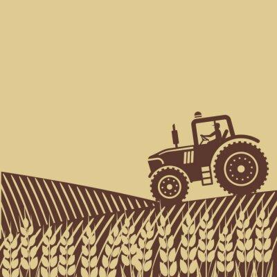 Fototapeta owalna etykieta z krajobrazu. Traktor w polu