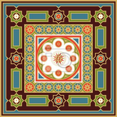 Fototapeta Ozdoba do tapet, tkanin, płytek i mozaik. Edytowalny plik wektorowy.