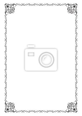 bf8c643da7372 Ozdobna czarna ramka prostokątna. proporcje strony a4. Fototapeta ...